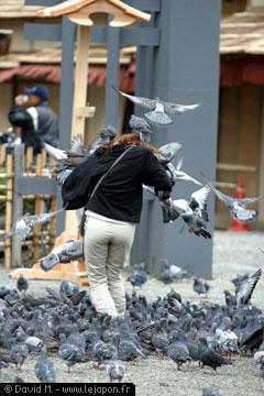 Japonaise avec pigeons
