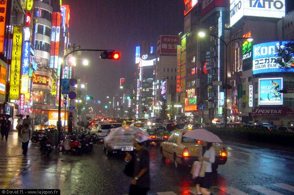 Reflets des néons et parapluies transparents au quartier Shinjuku (Tokyo) sous la pluie