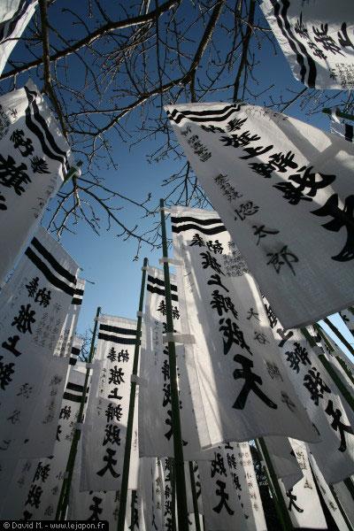 Drapeaux dans un sanctuaire shinto de Kamakura