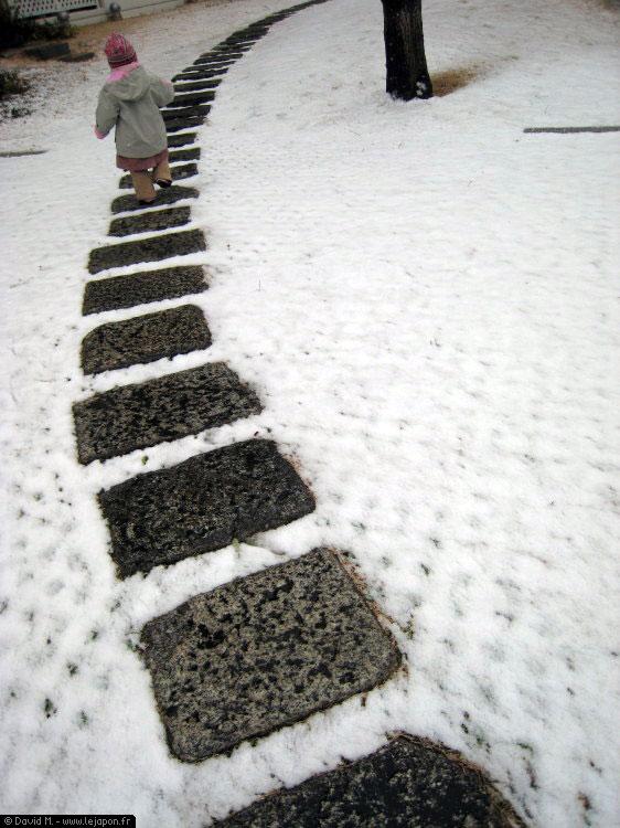 Neige de courte durée à Yokohama - Japon