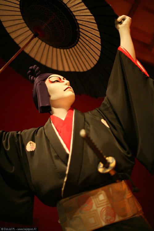 Acteur de Kabuki en cire au musée Edo à Tokyo