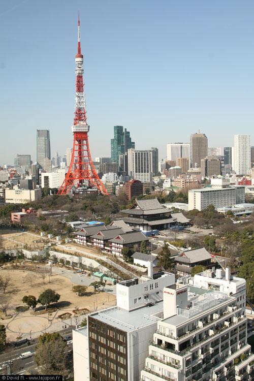 Vue sur la Tokyo Tower et le temple Zojoji