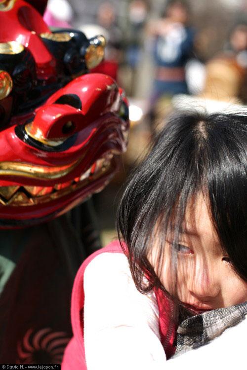 Shishimai pendant la fête de MomoTaro