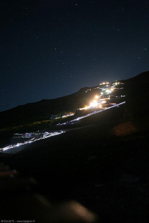 Montée du Mont Fuji de nuit