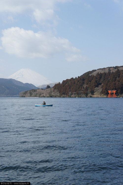 Mont Fuji, Fuji san ou encore Fujiyama vu du lac Ashinoko à Hakone
