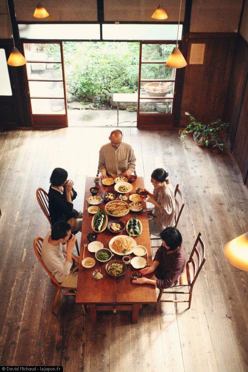 Repas des Morita dans leur Machiya Unagi-no-Uchi de Kyoto