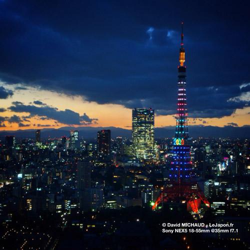Tokyo Tower aux couleurs JO Jeux Olympique 2020 Tokyo